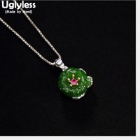 Wholesale green jade gemstone for sale - Group buy Uglyless Real Sterling Silver Natural Green Jade Flower Pendants for Women Gemstones Jasper Necklaces NO Chains Jewelry