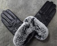 guantes de piel de conejo real al por mayor-guantes de cuero de invierno cálido con conejo castor pantalla táctil de pieles de ciclismo marca fría dedo guantes de piel de oveja