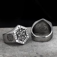 joyas de texto al por mayor-316L acero inoxidable mitología nórdica Viking rune ring texto griego tótem anillo hombres y mujeres moda anillo fresco joyería