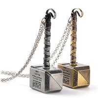 Wholesale gold plate silver chains resale online - Thor s hammer necklace hammer of Thor initial thor charm gold tone silver tone necklace keyring