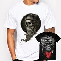 estilo novo dos homens camiseta venda por atacado-nova moda t-shirt dos homens estilo punk crânio do pirata do vintage impresso tshirt Mens Fashion Designer T Shirt 100% da qualidade superior de manga curta S-3XL