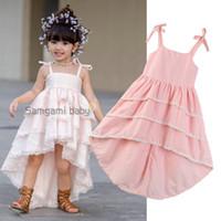 pastel de boda tutu al por mayor-Venta al por menor Baby girl sling pink swallowtail cake boda princesa Dress niños diseñador de ropa niñas plisado vestidos de baile ropa