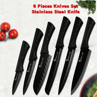 cuchillo de cocinero de hoja negra al por mayor-Sowoll Moda Negro de acero inoxidable cuchillo de cocina Conjunto Alemania acero de ultra hoja afilada de cocina Chef de cocina Cuchillo 7Cr17 Herramientas 6 PCS