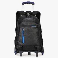 carro de equipaje chicos al por mayor-Estudiante de secundaria 2/6 de la rueda trolley mochila escolar niña equipaje impermeable mochila desmontable adolescentes bolsas de viaje mochila bolso