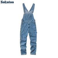 плюс подтяжки комбинезонов оптовых-Sokotoo Men's plus size big pocket loose bib overalls Casual working coveralls Suspenders jumpsuits Light dark blue jeans