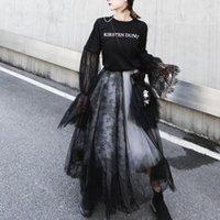 vestidos de baile de hadas al por mayor-cintura alta costura de encaje gótico mujeres de cinco capas en blanco y negro de malla falda faldas de hadas falda mullida bailar vestidos de fiesta de tul