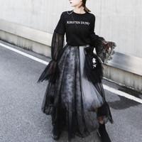 tanzkleid frauen spitze großhandel-Gothic hohe Taille Spitzen Nähen fünfschichtige Frauen Schwarz-Weiß-Mesh-Rock flauschigen Rock Fairy Röcke tanzen Tüll Party Kleider