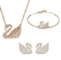 Wholesale green austrian crystal earrings for sale - Group buy Gold Silver Plated Austrian Crystal Swan Jewelry Set for Women Made With Swarovski Elements Animal Jewelry Sets Wedding Jewelry set