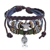 0252bb8f7916af Jesus Fish Bracelet Retro Star Cross Multilayer Wrap Bracelet Leather  Bracelets Women Man Fashion Jewelry