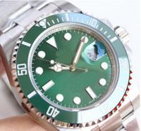 relojes para hombre caras al por mayor-Reloj para hombre casual 116610 hombres Zafiro automático Acero inoxidable sólido Glidelock Bisel de cerámica negra Cara verde Relojes para hombre Reloj de pulsera
