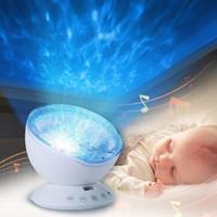 reproductor de música para niños al por mayor-Bebé Luminoso Juguetes Noche Sueño Luz Estrella Cielo Ola Oceánica Reproductor de Música Lámpara de Proyector Bebé Niños LED Sueño Apaciguar Luces Regalos