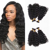 Wholesale 28 inch bulk hair weave for sale - 3 Bundles Deep Wave Hair Bulk for Weaves Extensions Braiding Indian Human Hair Natural Color FDSHINE