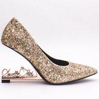 gelin ayakkabıları kama topuk toptan satış-Şampanya Sequinsl Moda Lüks Tasarımcı Kadın Ayakkabı 10 CM Kama Topuklu Gelin Düğün Ayakkabı Düğün Topuklu Ayakkabı Gelin Ayak ...