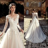Wholesale waves image online - New Country Custom Wedding Dresses Summer Garden A Line Sheer Scoop Neck Appliques Long Sleeves Bridal Gowns