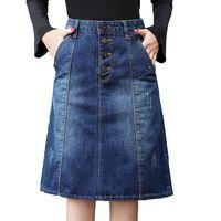 saias jeans para mulheres venda por atacado-2019 Alta Qualidade de Verão Denim Saias Das Mulheres de Cintura Alta Plus Size Botão bolsos Jeans Saia Jeans Casual A-line Midi Saia J190426