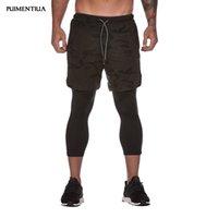 pantalones cortos de jogging masculino al por mayor-Puimentiua 2019 Pantalones cortos para correr 2 en 1 transpirables Pantalones cortos para hombres Maratón Fitness Yoga Correr Correr 3/4 Hombres de fondo