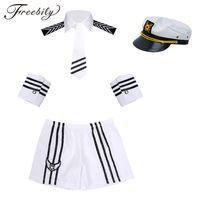 calção de vestido de marinheiro venda por atacado-Homens adultos Sexy Trajes Cosplay Da Marinha Marinheiro Traje Shorts com Cap Collar Tie Cuffs Uniforme Cosplay Seaman Fancy Dress up