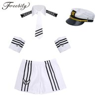 ingrosso costumi navy marinaio-Uomini adulti Costumi Cosplay sexy Navy Sailor Costume Pantaloncini con cappuccio Collare Tie Cuffs Seaman Uniform Cosplay Fancy Dress up