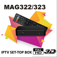 iptv kutuları toptan satış-Orijinal MAG 322 Dijital IPTV Set Top Box Multimedya Oynatıcı İnternet IPTV Alıcısı desteği HEVC H.256 ile WiFi Lan HDMI TV Kutusu
