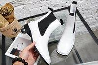 botas de sapato preto n branco venda por atacado-Fashionville * u671 40 couro botas planas c e marca de moda outono cabeça quadrada moda feminina melhores sapatos de grife em preto e branco