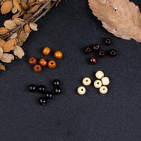 hölzerne perlen halskette schmuck großhandel-9 * 10mm 4 farben Natürliche Holzperlen Holz Lose Loch Perlen für Schmuck Machen DIY Armband Halskette