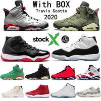 dia luces al por mayor-2020 Travis Scotts 6 6s zapatos de baloncesto Bred Retros 11 11S Concord 45 hombres zapatos Negro infrarrojos PSG reflexión de la luz Bone entrenador zapatos para hombre
