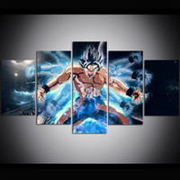 Wholesale super oil paintings online - 5 Piece Large Size Canvas Wall Art Dragon Ball Super Guanyin Hand Oil Painting Wall Art Pictures for Living Room Paintings Wall Decor