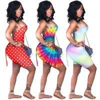 Wholesale one piece backless jumpsuit resale online - Women Tie dyed Jumpsuit Shorts Sleeveless Backless Romper Straped Vest Shorts One Piece Tracksuit Summer Travel Beach Swim Party Wear A41701