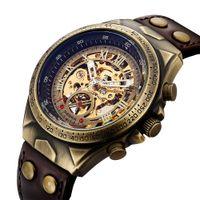 часы для часов steampunk оптовых-Мужчины Механические Часы Автоматические Часы Скелет Автоподзавод Мужские Часы Ретро Кожа Стимпанк Прозрачный Наручные Часы Часы