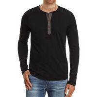 paçavra gömleği toptan satış-Erkekler Casual Slim Fit Ön Düğme Placket Temel Uzun Kollu Henley Tişörtler Pamuk Gömlek Yumuşak Rahat Renk Kazak Tops