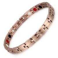 Wholesale germanium infrared bracelet resale online - Stainless Steel Vacuum Plating Rose Gold Magnet Bracelet Negative Ion Far Infrared Germanium Bracelet