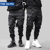черные брюки для перевозки хип-хопа оптовых-Хип-хоп черный карандаш брюки мужские брюки-карго уличная одежда мужские карманы бегунов гарем 2019 весенняя мода мужские брюки ленты Hd070 Y190415