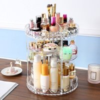 Wholesale DIY Degree Rotation Transparent Acrylic Cosmetics Storage Box Fashion Multifunction Detachable Makeup Beauty Organizer T200115
