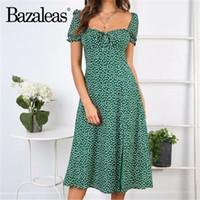 laço do arco da gota venda por atacado-Bazaleas verde floral impressão midi dress busto bow tie vestido de verão vestidos do vintage lanterna manga mulheres vestidos transporte da gota