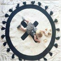 jacquard decken großhandel-Kinderzimmer Teppich Handgewebter Fransenteppich Nordic Cross Dekorative Strickdecke Kinder Kletterunterlagen Kleinkindunterlagen