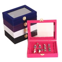 Wholesale cufflink storage display box resale online - 7 Slots Velvet Jewelry Display Box Earring Ring Organizer Cufflink Storage Showcase with Clear Window WB384