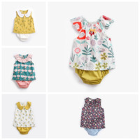Wholesale newborn baby girl clothing online - Designer newborn baby outfits Pineapple cherry flower babies girl clothing set cute vest tank top with shorts pant suit infant clothing