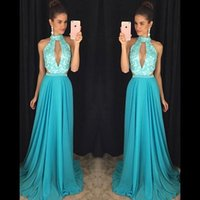 Wholesale evening gowns for sale - 2019 New Arrival Evening Dresses A Line Halter Neck Appliques Beads Top Cutaway Sides Flowy Chiffon Long Vestidos Prom Gowns bc1745