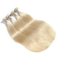 14-дюймовые светлые волосы оптовых-Bleach Blonde Color Перуанские Прямые Плетения Волос 100% Реми Человеческих Волос Пучки 10-30 Дюймов Двойной Уток Наращивание Волос