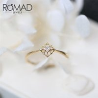 ingrosso gioielli in pietra di zircone-ROMAD Dainty Zircon Stone Finger Ring Filled Gold Filled Anelli di fidanzamento Fashion Wedding Bands Per le donne gioielli minimalista R4