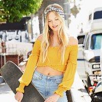 camisa de manga amarela venda por atacado-CUPSHE das Mulheres Amarelo Sólido Smocked Envoltório Top 2019 Novo Outono Slim Fit Tee Sexy Fora Do Ombro Ruffle Puff Manga Rib Knit T-shirt