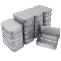 küçük boş kaplar toptan satış-2,45 ile 24 Metal Dikdörtgen Boş menteşeli Teneke Kutu Konteynerleri Mini Taşınabilir Kutu Küçük Depolama Takımı, Ev Organizatör, 3.75 ile