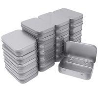 cajas de hojalata al por mayor-24 de metal rectangular vacío con bisagras Latas Box Contenedores Mini Kit portátil pequeña caja de almacenamiento, organizador del hogar, 3,75 por 2,45 por