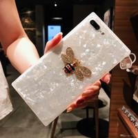 rosa schalen perlen großhandel-Mytoto case für iphone 6 6s 7 8 plus pink shell pearl diamond honeybee bee rubin silikon mädchen geschenk für iphone x handy shell