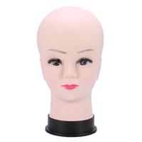 extensiones de cristal de pelo al por mayor-Modelo de cabeza de maniquí de PVC Peluca femenina haciendo exhibición de sombrero con base de pestañas Práctica de Makup Modelo de cabeza calva de maniquí Traning