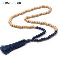 богемские полудрагоценные ожерелья оптовых-SHINUS BOHO Bohemian Statement Necklaces for Women Wooden  & Semi-precious Stones Strand Necklace Long Tassel Charm Jewelry