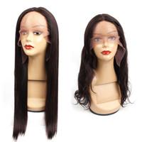 perruques de dentelle brésilienne 28 pouces achat en gros de-Perruques de cheveux humains de type T avant bon marché avec des perruques brésiliennes de cheveux vierges - 14-30 - 130% de densité 100% de cheveux naturels