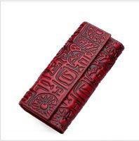 monedero de cuero patrones gratis al por mayor-Diseñador de alta calidad de estilo chino de cuero genuino Vintage monedero femenino marca de moda patrón de embrague cartera mujeres envío gratis