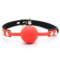 секс красный шар рот оптовых-PU кожаный пояс Красный силиконовый шар рот кляп устная фиксация рот фаршированные секс продукт для взрослых Секс-Игрушки для пар флирт секс-игрушки