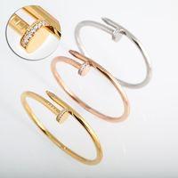 pulseira de ouro cheia de bebês venda por atacado-Presente do dia de moda de luxo jóias da marca clássico Designer 18K ouro inlay diamante Prego Cuff Bracelet Mulheres dos Namorados